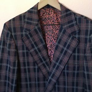 Vintage navy and red plaid sport coat